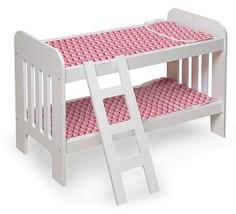 Kids Doll Furniture White Bunk Bed w/ Pink Chevron Bedding & Ladder Play... - $43.95
