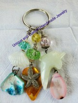 Dolphin shell anchor flip-flop starfish  mother of pearl glass handmade ... - $20.00