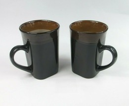 Royal Norfolk Stoneware Brown Black Western Square 14oz Coffee Mug Cup Set of 2 - $15.71