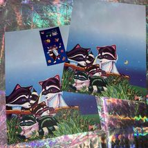 Lisa Frank Stationery RACCOON Racoon Family 2 Sheets One Full Sticker Mod image 3