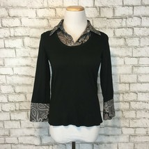 Ann Taylor Women's Black Pullover Paisley Print Collared Shirt Size Smal... - $15.29