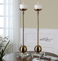 "Pair Xxl 27"" Brass Plated Metal Pillar Candle Holders Crystal Foot White Candles - $272.80"