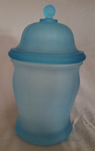 Vtg Indiana Glass Large Frosted/Satin Blue Paneled Apothecary Jar (circa... - $22.50