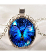 Vintage Butterfly Blue Cabochon Silver Plated Glass Chain Pendant Neckla... - €9,45 EUR