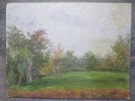 Painting Modern Style Impressionist oil Board landscape With Trees Summe... - $83.00