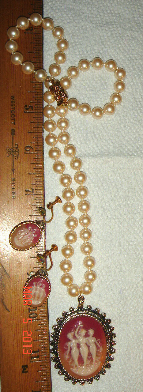 VTG FLOWER PIN & 3 GRACES CAMEO FAUX PEARL NECKLACE SCREWBACK EARRING LOT 4piece