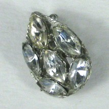 Brooch 1 Inch Silvertone Pin Clear Rhinestone Tear Shape Estate VTG 50s ... - $17.81