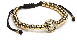 ZENGER Jewelry Skull Pendant Macrame Bracelet (Yellow Gold) - $26.64