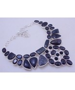 Moss Agate-Iolite-Jasper-Diopside Silver Overlay Handmade  Necklace Oj-186 - $41.58