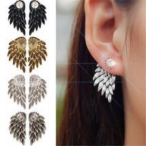 Fashion Women Angel Feather Wing Earrings Rhinestone Hook Ear Stud Hoop ... - $23.90