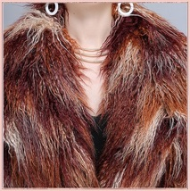 Long Shaggy Mongolian Tibetan Lambs Warm Curley Long Hair Faux Fur Over Coat image 2