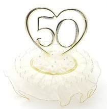 50th Anniversary Gold ornament with ivory ribbons and rhinestones in heart - $29.65
