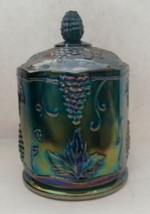 Vintage Indiana Harvest Grape Canister Carnival Glass Iridescent Biscuit Jar  - $26.19