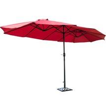 15' Market Outdoor Umbrella Double-Sided Twin Umbrella with Crank-Wine - $138.32
