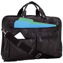 Black Leather Messenger Laptop Shoulder Bag Briefcase Attache Case Portf... - $33.99