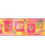Whimisical Wall Hearts and Flowers WK9091B Wallpaper Border - €13,63 EUR