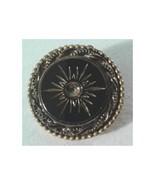 Vintage gold tone & black glass round pin; star burst; Original by Robert - $27.95