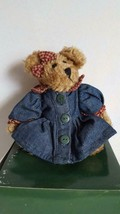"6"" Plush Mini Boyds Bears Jointed Teddy Bear, Retired 1997, Denim Dress, No Tags - $6.05"