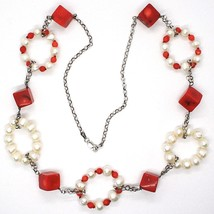 Silver necklace 925, Circles pearls and coral Alternating, Coral cubes image 2