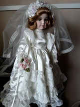 Porcelain doll in marriage with white gown and vail 19 inches long w/stand - $34.99