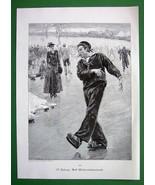 CHRISTMAS TIME Sailor Home Skating Smokes Cigar - VICTORIAN Era Antique ... - $8.77