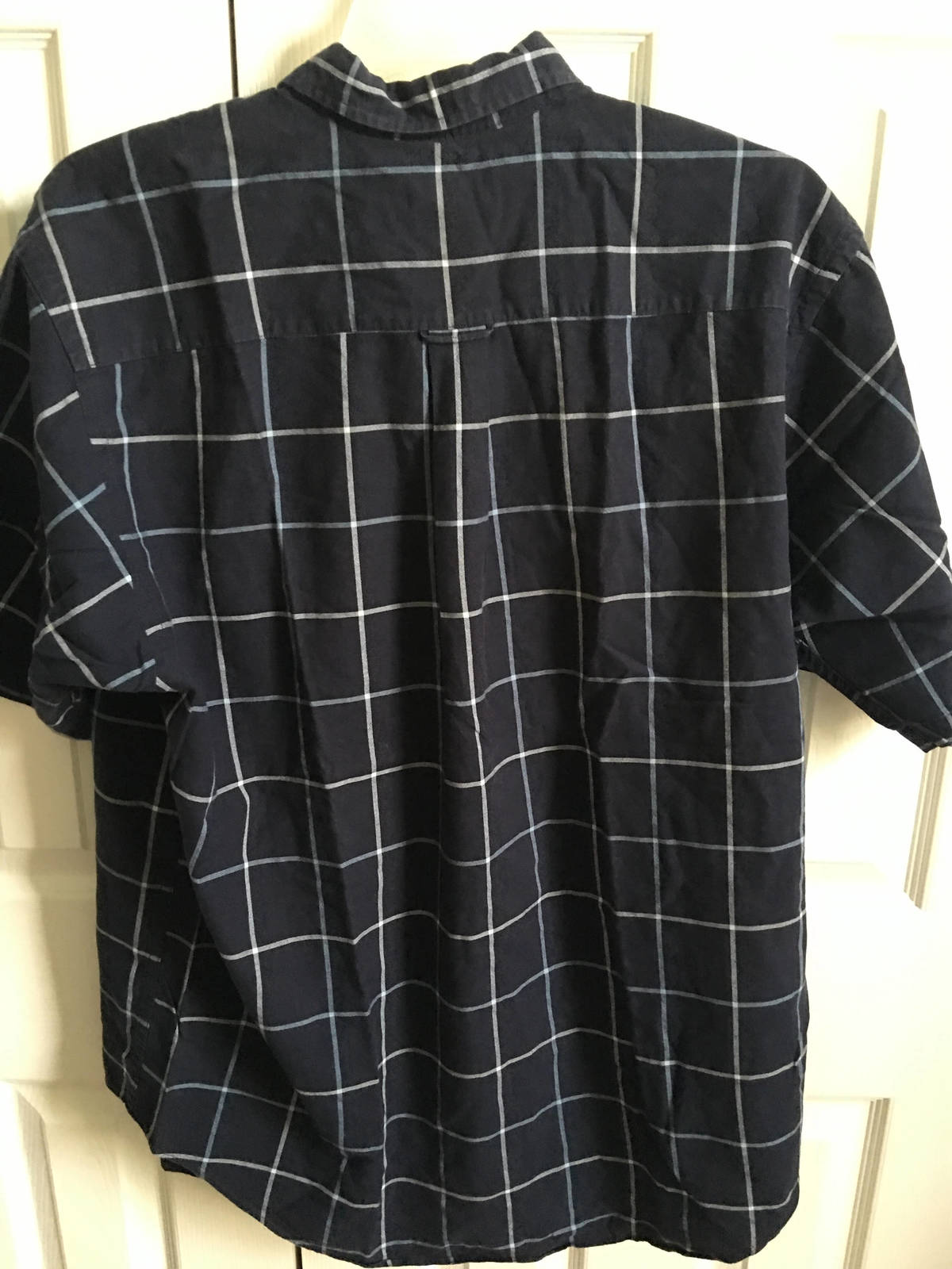 Nautica Mens button down short sleeve checkered plaid shirt Sz Large