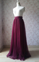 BURGUNDY Wedding Full Long Tulle Skirt Burgundy Wine Red Bridesmaid Outfit Plus image 4