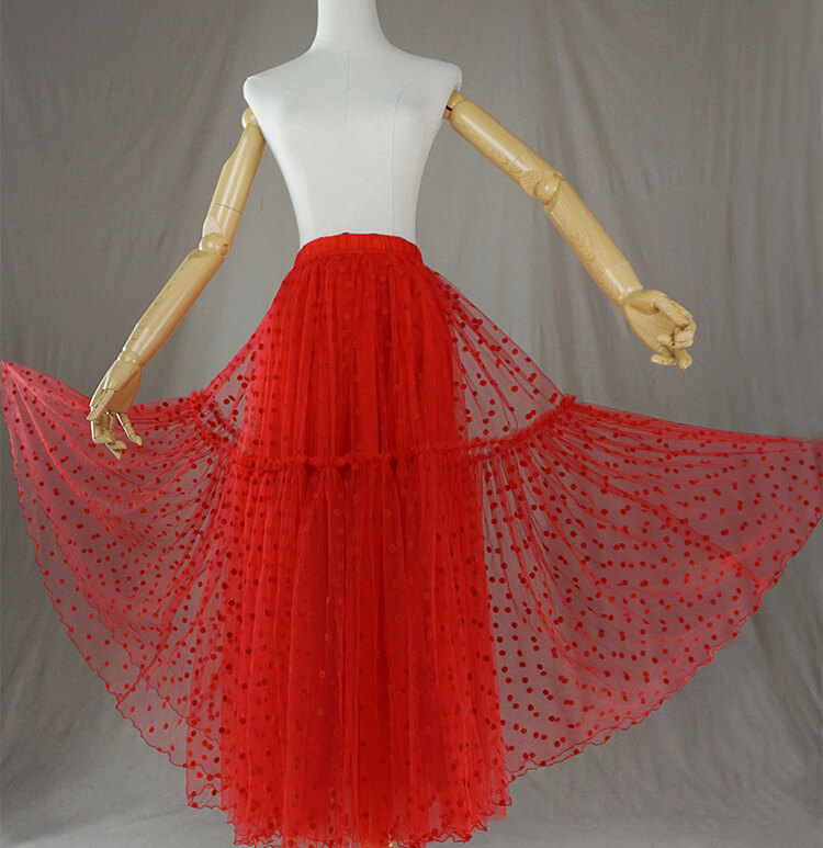 Red Tiered Tulle Skirt Red Polka Dot Tiered Tulle Skirt Red Party Tulle Skirt
