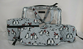 Vera Bradley 4 Piece Cosmetic Bag Playful Penguins Gray or Blue NWT Free... - $58.49