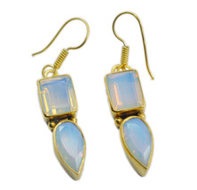 Yellow Gold Plated Fashion exquisite Fire Opal CZ gemstones Earring AU gift - $14.54