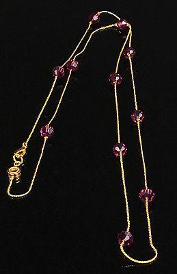 Swarovski Signed Purple Glass Beaded Gold tone  Necklace