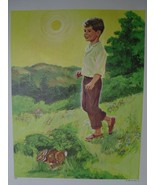 Boy & Rabbit in Country Morning - David C. Cook Co 1967 Creation Series - $14.40
