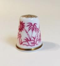 Bamboo Spode Thimble Vintage Fine Bone China England Red White Gold Trim - $20.00