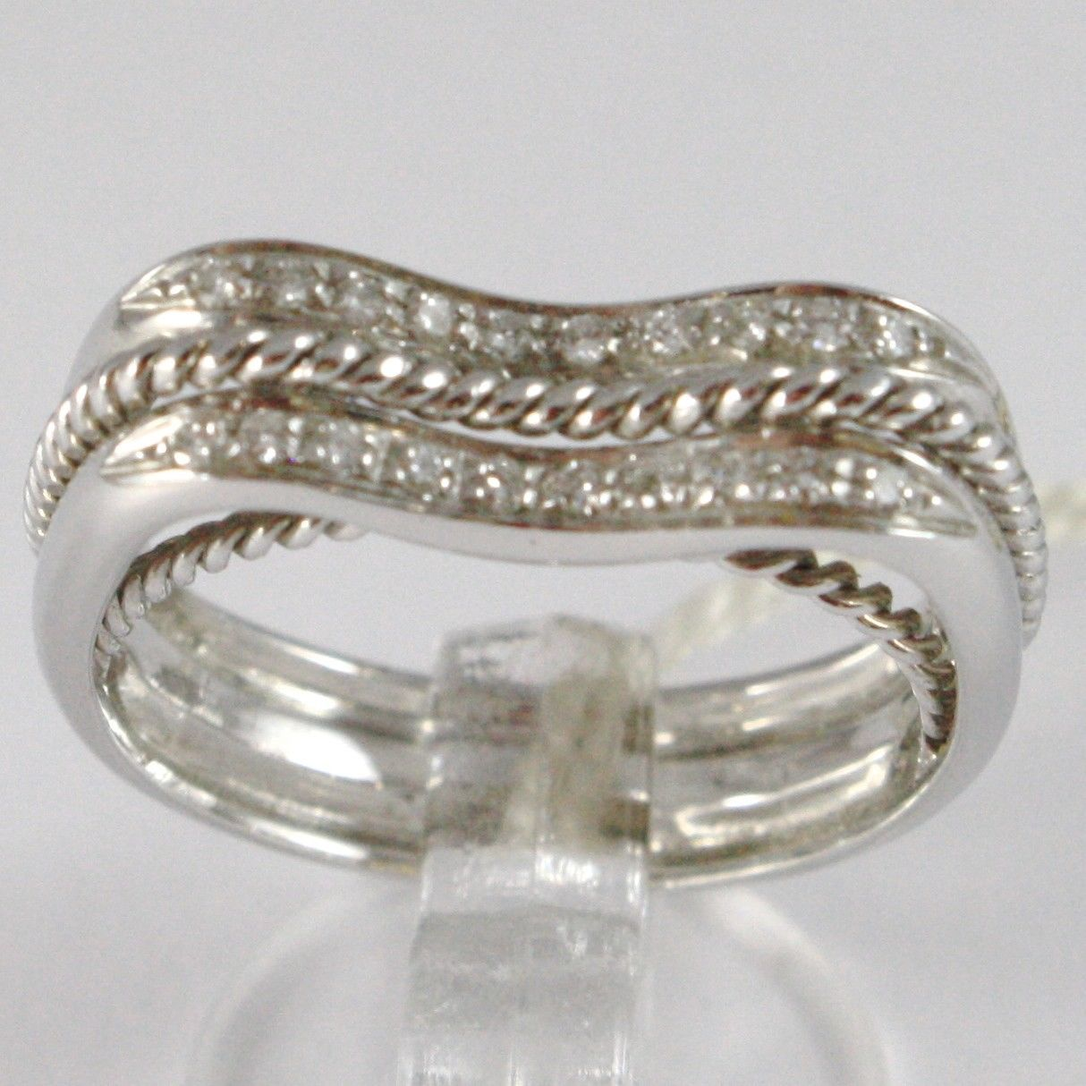 WHITE GOLD RING 750 18K, VERETTA UNDULATED, DOUBLE ROW OF DIAMONDS, THREADED