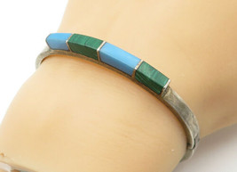 MEXICO 925 Silver - Vintage Turquoise & Malachite Bangle Bracelet - B6459 - $74.60