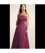 Davids Bridal 8567 Bridesmaid Dress Satin Gown w/Side Drape & Brooch Win... - $49.99