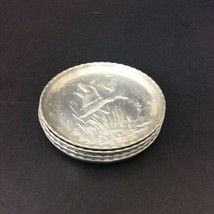 "Set 4 Aluminum Tin Metal Flying Geese Cattails Water Bird Coasters 3""  - $7.70"