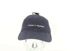 New Tommy Hilfiger Spell Out Flag Logo Adjustable Cotton Dad Hat Navy Blue - $29.65