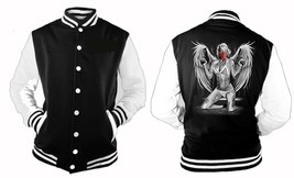 Marilyn Angle Wings Varsity Collage Baseball BLACK/WHITE Fleece Jacket - $28.71