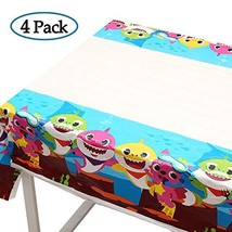 4 Pack Baby Shark Table Cloth, 70 x 42 Inch Table Covers for Baby Shower Birthda