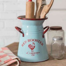 Farmhouse Red Rooster Caddy Utensil Holder Flower Display Farm Country D... - $29.00