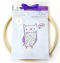 OWL Embroidery Wall Art Kit Bird Animal Theme By Penguin & Fish Beginner... - $27.00