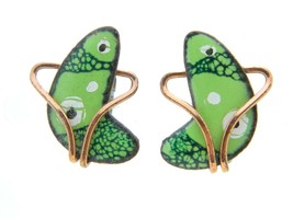 Vintage RARE MATISSE Renoir Copper FREEFORM Green Enamel Clip Earrings - $49.50