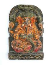 Vintage Lord Ganesha Wooden Wall Panel Antique Old Sculpture Idol Handma... - $170.05