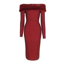Slash Neck Dress Full Sleeves Bodycon Knee Length Bandage Celebrity Noble Hidden - $80.99