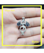 8 pcs Pearl Cage Pendant Shape  Flying Dragon Bright Silver Trendy Fun Gift - $14.80