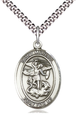 Primary image for St. Michael the Archangel Sterling Silver  - Pendant - on a 24-inch chain