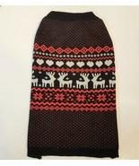 Martha Stewart Pets Dog Sweater size Large Black Red  Reindeer Fair Isle... - $7.92