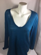 Mossimo Women Jade Green Color Blouse V-neck Long Sleeve Size L   - $15.88