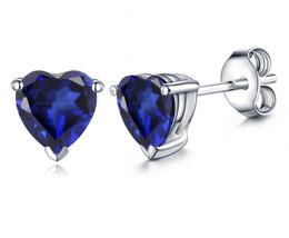 Women's Stud Earrings Heart Shape Blue Sapphire 14k White Gold Plated 925 Silver - $35.14